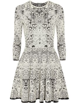 spine-lace-intarsia-stretch-knit-mini-dress by alexander-mcqueen