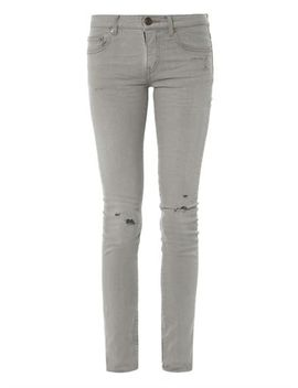 distressed-mid-rise-skinny-jeans-(175668) by saint-laurent