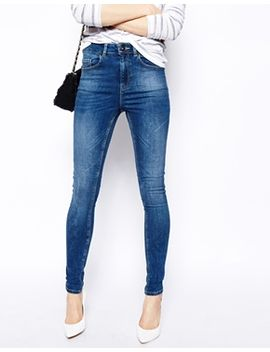 asos-ridley-high-waist-ultra-skinny-jeans-in-mid-wash-blue by asos-collection