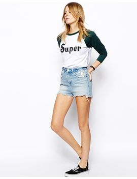 asos-high-waisted-denim-shorts-with-side-split-and-rips-in-light-wash by asos-collection