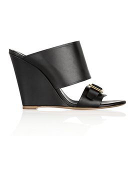 buckle-detailed-leather-mules by chloé