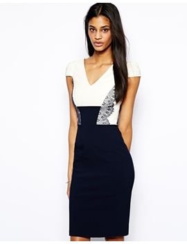 hybrid-pencil-dress-with-lace-panelling by hybrid