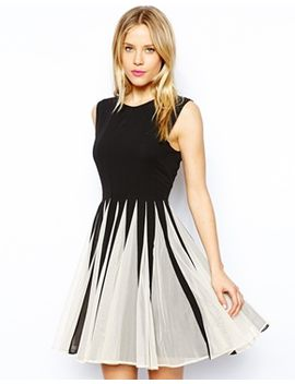 asos-mesh-insert-fit-and-flare-dress by asos-collection