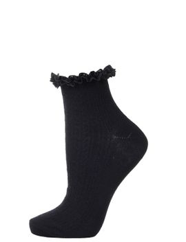 navy-lace-trim-ankle-socks by topshop