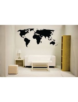 newclew-nc-mp-1-world-map-wall-decal-vinyl-art-sticker-home-decor,-large,-black by newclew