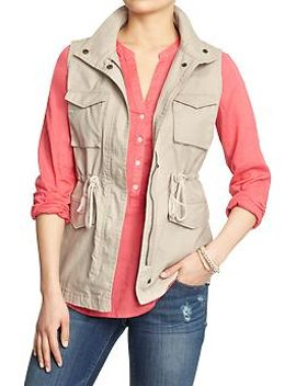 womens-canvas-drawstring-vests by old-navy