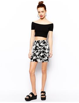 new-look-palm-print-mini-tube-skirt by new-look