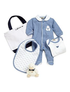 infants-five-piece-footie,-bodysuit,-bib,-plush-eagle-&-bag-gift-set by armani-junior