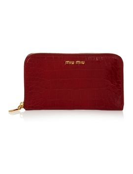 croc-effect-glossed-leather-wallet by miu-miu