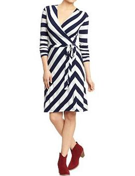 womens-printed-wrap-front-dresses by old-navy