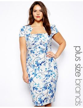 blue-floral-print-pencil-dress by lipstick-boutique-plus