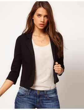 asos-cropped-blazer-in-ponte by asos-collection