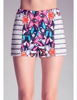 printed-tweed-shorts by bebe