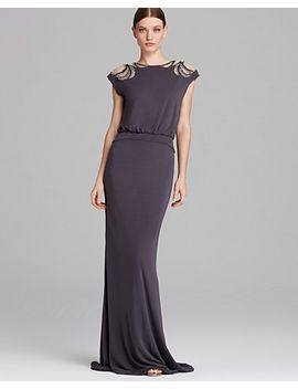 gown---deco-beaded-shoulder-blouson by badgley-mischka