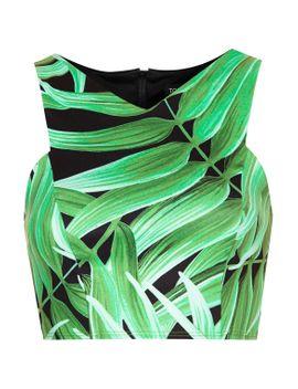 leaf-print-cutaway-crop-top by topshop