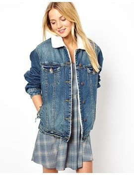 asos-denim-jacket-in-vintage-wash-with-borg-lining-and-collar by asos-collection