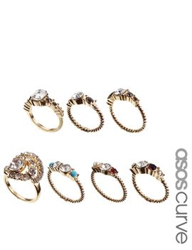 vintage-style-pearl-&-stone-ring-pack by asos-curve