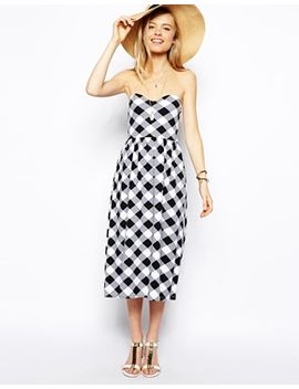 asos-midi-bandeau-dress-in-check-print by asos-collection