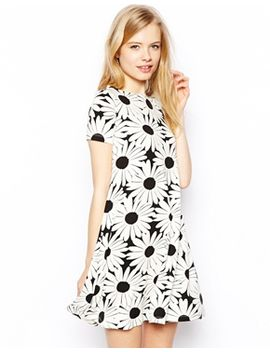 asos-swing-dress-in-daisy-mono-print by asos-collection