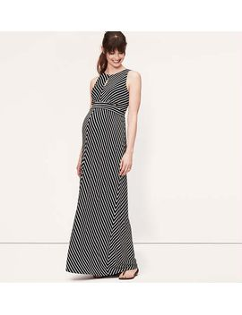 maternity-mitered-stripe-keyhole-maxi-dress by loft