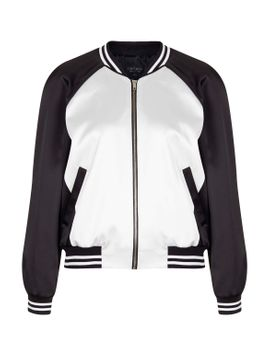 panelled-satin-bomber-jacket by topshop