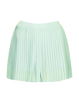 mint-soft-pleat-shorts by topshop