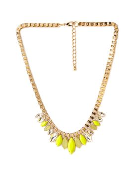 Boxy Bejeweled Necklace by Forever 21