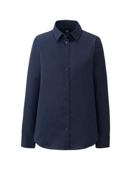 women-broadcloth-long-sleeve-shirt by uniqlo