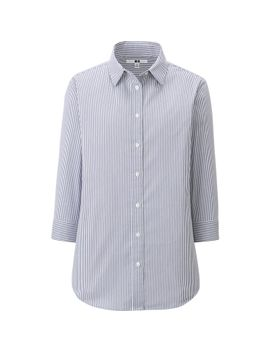 women-broadcloth-stripe-3_4-sleeve-shirt by uniqlo
