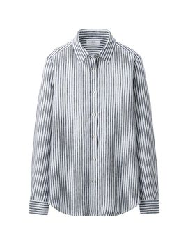 women-premium-linen-stripe-long-sleeve-shirt by uniqlo
