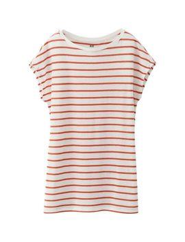 women-modal-linen-blended-boat-neck-short-sleeve-t by uniqlo