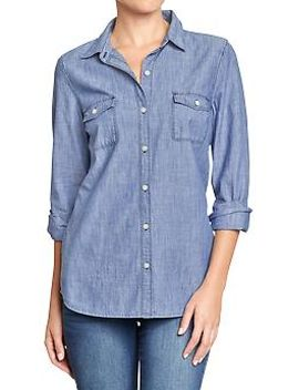 womens-classic-chambray-shirts by old-navy