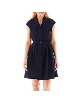 liz-claiborne-short-sleeve-belted-shirtdress by general