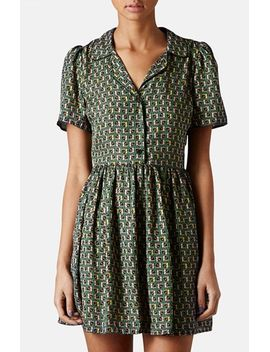 piped-tile-print-shirtdress by topshop