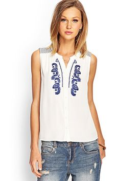 Embroidered Sleeveless Top by Forever 21