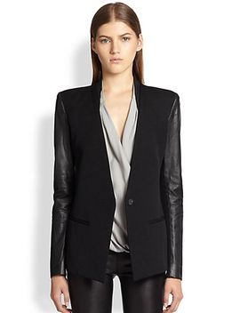 crux-leather-sleeved-wool-blazer by helmut-lang