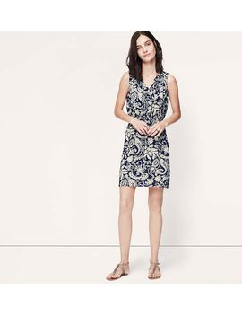 paisley-tie-neck-dress by loft