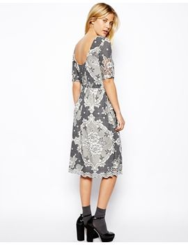 asos-midi-skater-dress-in-pretty-lace-with-scoop-back by asos-collection