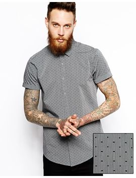 smart-shirt-in-short-sleeve-with-stripe-and-dobby-polka-dot by asos