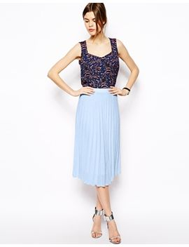 asos-midi-skirt-in-textured-pleat by asos-collection