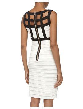 sleeveless-lattice-stretch-knit-dress,-black_white by jax
