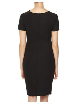 gathered-detail-crepe-sheath-dress,-black by armani-collezioni