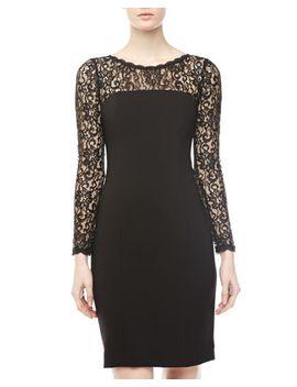 lace-yoke-and-sleeves-sheath-dress,-black by donna-morgan