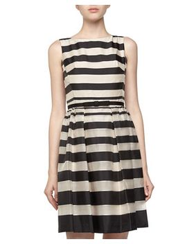 sleeveless-fit-and-flare-striped-dress,-ivory_black by taylor