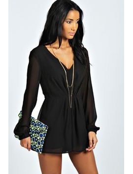 becca-long-sleeve-pleat-front-woven-playsuit by boohoo