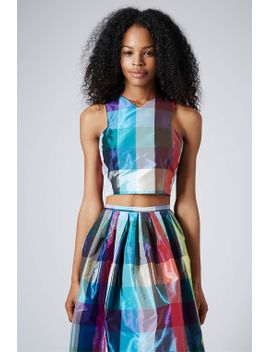 **limited-edition-v-neck-cutaway-check-crop-top by topshop