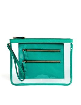 new-look-clear-clutch-with-zip-detail-in-green by new-look