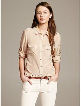heritage-tipped-silk-blouse by banana-repbulic