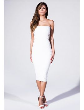 bandeau-midi-dress-with-fishnet-detail-in-white by missguided