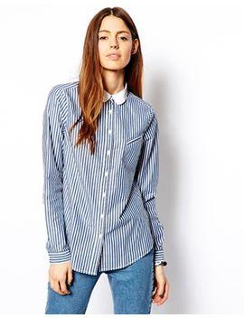 asos-stripe-boyfriend-shirt-with-peterpan-collar by asos-collection